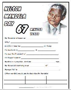 Free Nelson Mandela #67Minutes Worksheets #Education #Homeschool #Mandela #Freebies #Worksheets #SouthAfrica #MandelaDay