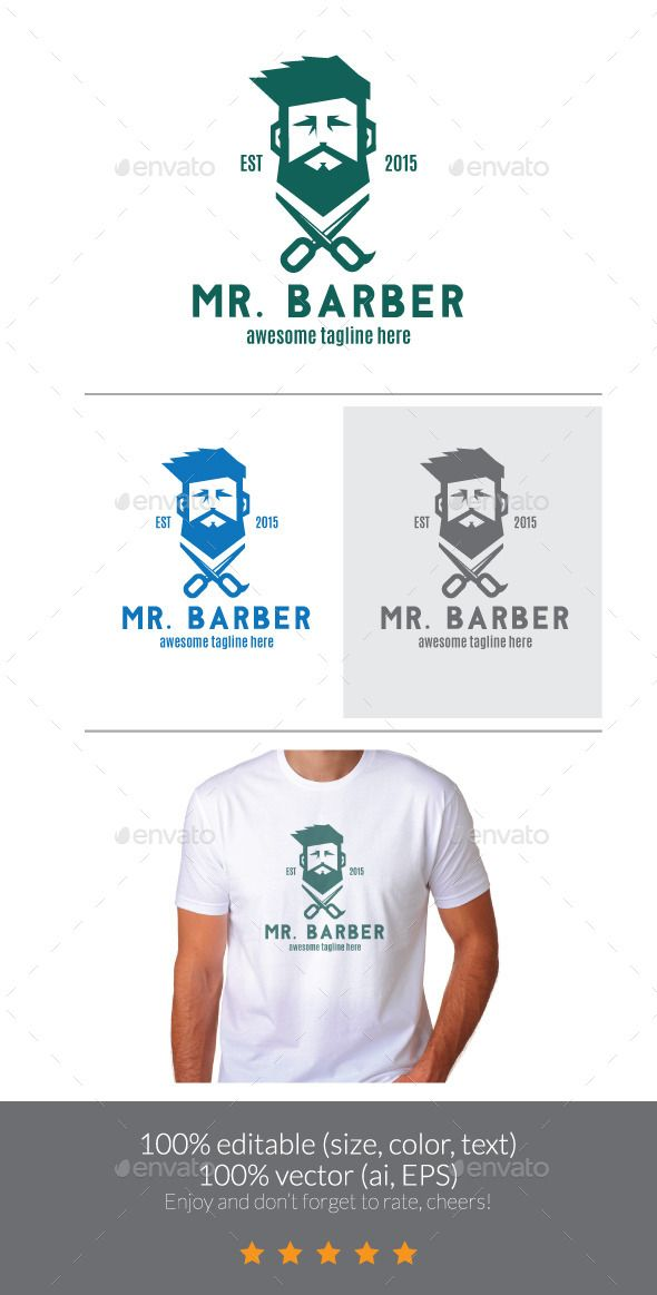 Bearded Barber Logo Template Vector EPS, AI. Download here: http://graphicriver.net/item/bearded-barber-logo/12058929?ref=ksioks