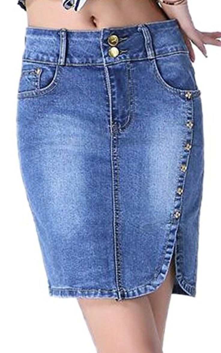 Enlishop Women Sexy High Waist Stretch Bodycon Midi Denim Jean Pencil Skirt Blue - Brought to you by Avarsha.com