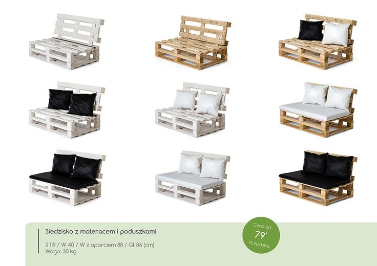 Siedzisko z materacem i poduszkami - różne konfiguracje.