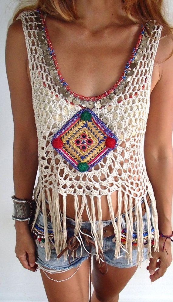 Handmade crochet  fringe top with vintage jewelry/Boho от PadMa88
