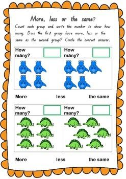 Children count the number of dinosaurs to determine how many. They then compare the first group to the second to determine if there are more, less or the same. A fun worksheet for kindergarten aged children aligned with Common Core Standards. If you enjoy this product I'd appreciate your feedback.