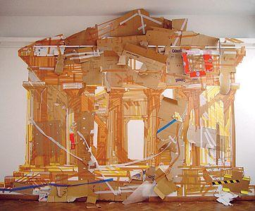 Valery Koshlyakov. Temple  2002  Cardboard and adhesive tape on wall, 450х600 cm  Moderna Galerija, Ljubljana, Slovenia   Read / lire : http://www.bednoe.ru/eng/koshlyakov.html