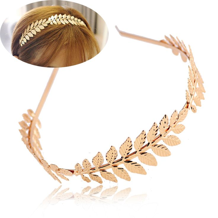 Fashion Women Elegant Baroque Style Gold/Silver Plated Metal Leaves Headband Charm Hair accessories Hairband
