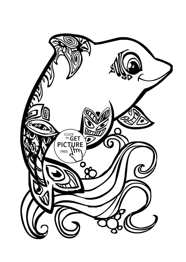 Beautiful Dolphin Coloring Page For Kids Animal Pages Printables Free