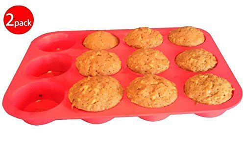 CHICHIC Set of 2 Silicone Muffin Pan Cupcake Pan Cupcake Maker Cupcake Mold 100 Food Grade Silicone BPA free Non stick Microwave and Dishwasher Safe *** To view further for this item, visit the affiliate link Amazon.com.