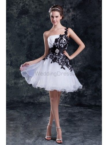 Organza One Shoulder Neckline Short Column Embroidered Short Wedding Dress