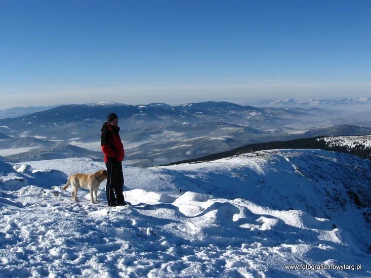 Babia Góra (1725) – najwyższy szczyt Beskidu Żywieckiego. Widok na Pilsko i Beskid Śląski