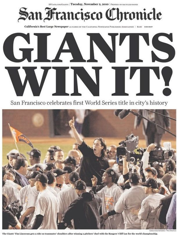 San Francisco Giants win the World Series!!!