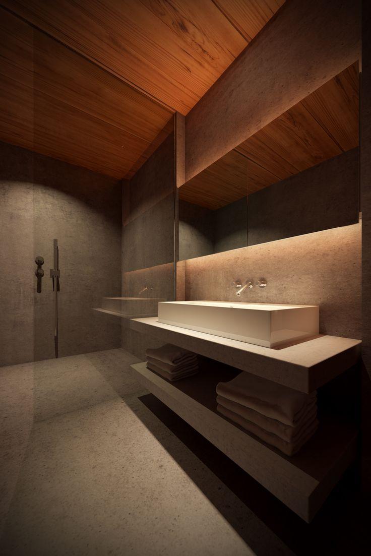 Modern bathroom design #wood #concrete
