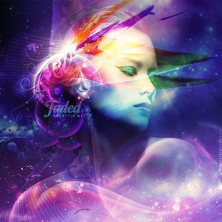 Faded by Infinite705  #kreattiv #manipulation #floral #watercolour #inspired #colourful #female #stars #nebula #waves