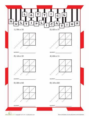 Worksheets: Lattice Multiplication for Kids. Free!!