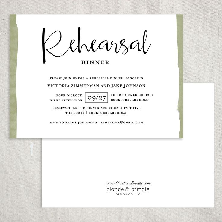 Contemporary design. Rehearsal dinner invitation with dipped edges in soft green. An earthy feel with a modern tough. This invitation can be exactly as you wish by changing the colors and wording!