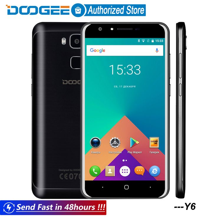 Doogee Y6 Fingerprint mobile phones 5.5Inch HD 2GB+16GB Android6.0 Dual SIM MTK6750 Qcta Core 13.0MP 3200mAH WCDMA LTE GSM GPS