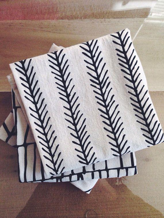 FEATHER Tea Towel - Screen Printed Organic Cotton Flour Sack Towel - Soft and Absorbent Dish Towel