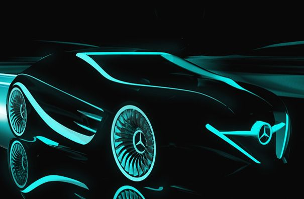 Mercedes Blackbird Goes Tron (Um...I think I *NEED* this...!!!) Design Concept by Peter Vardai