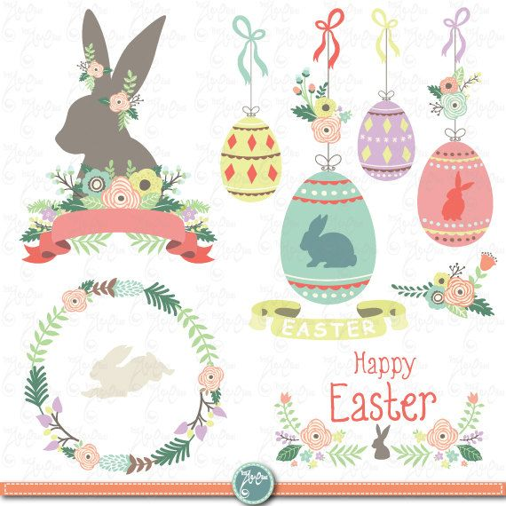 """Easter clip art """"EASTER CLIPART"""" Set,Easter Bunny,Vintage Flowers,Flower frames,Wreath,Spring,Easter Egg, Invitation, Instant Download Ed022"""
