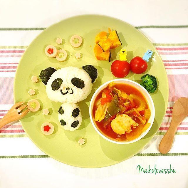 【maikolovesshu】さんのInstagramをピンしています。 《Have a good day!  #脂肪燃焼スープ #息子 #とばっちり (肉団子、キャベツ、ピーマン、玉ねぎ、セロリ入り) #無添加コンソメ #魚肉ソーセージ #桜 #春 #食器 #テーブルクロス #IKEA #イケア 鉢、カトラリー #100均#babymeal #babyfood #kidsfood #toddlerfood #🐼 #離乳食 #離乳食アート #離乳食後期 #離乳食記録 #離乳食レシピ #レシピ #離乳食完了期 #blackrice #無添加 #foodshare #グルテンフリー #glutenfree #addictivefree》