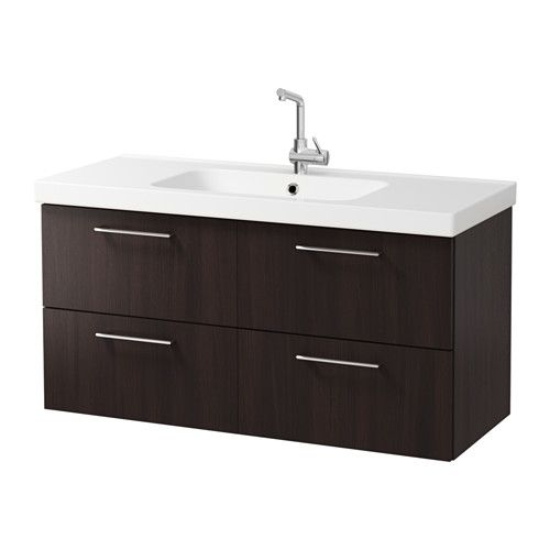 """GODMORGON / ODENSVIK Sink cabinet with 4 drawers - black-brown, 47 1/4x19 1/4x25 1/4 """" - IKEA"""
