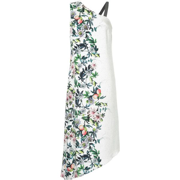 GINGER & SMART Passion asymmetric dress (645 AUD) ❤ liked on Polyvore featuring dresses, white, multicolored dress, multi colored dress, rayon dress, viscose dresses and asymmetrical dress