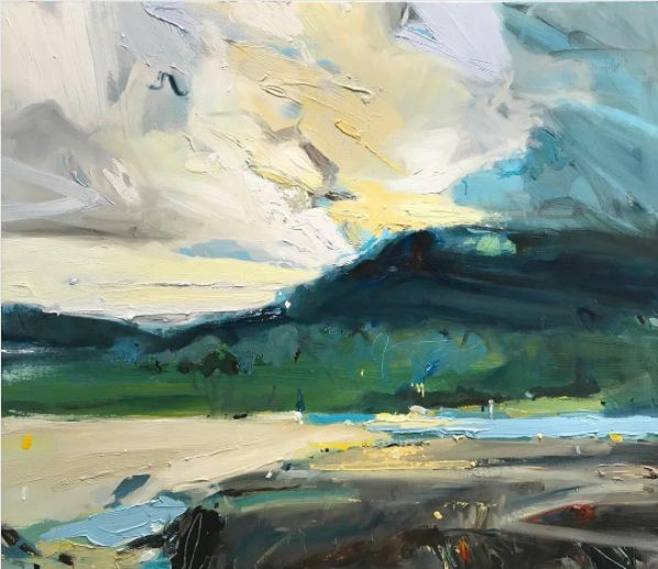 "At Corrimal Beach, at a certain time of the day when the last light creeps across the lagoon and the grasslands...it's pure magic. New painting...""Last Light at Corrimal Beach"", 83X100cm #australia #NSW #arts #emergingartist #interiordesignideas #home #artcollector"