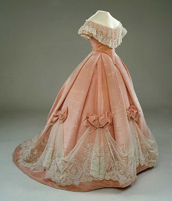 1800s dresses pink silk ball gown fashions past