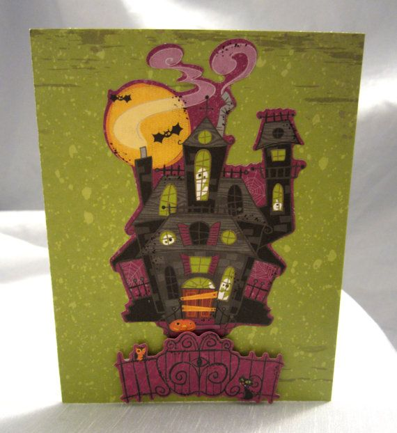 Cute Spooky Little Haunted House Happy by WistfulWhimsyDesigns