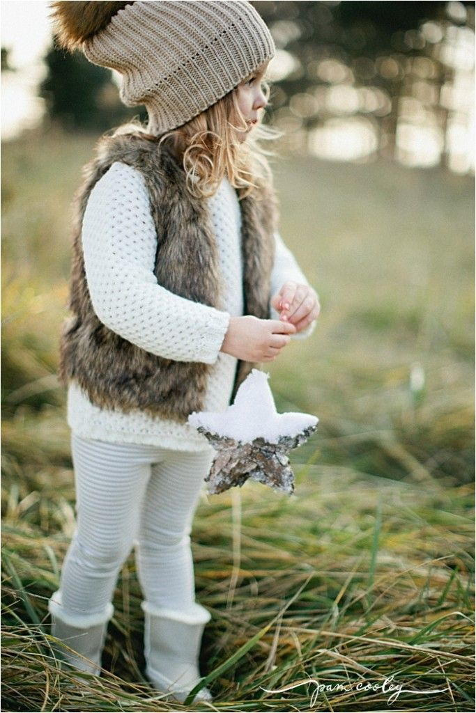 fall winter toddler girl outfit ideas fur vest beanie