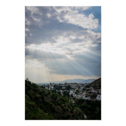 #Rays of sunlight filtered through storm clouds poster - #travel #trip #journey #tour #voyage #vacationtrip #vaction #traveling #travelling #gifts #giftideas #idea