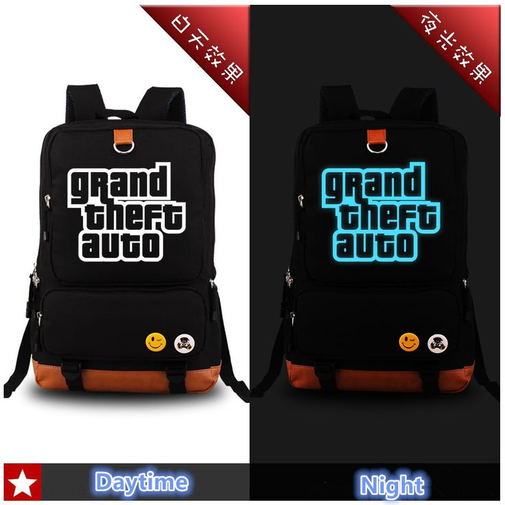 27.29$  Buy here - http://ai8ed.worlditems.win/all/product.php?id=32559614521 - Game Grand Theft Auto V GTA5 Luminous Printing Military Fashion Backpack Canvas School Bags for Teenagers Canvas Backpack