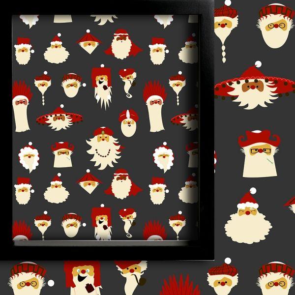 İllüstrasyon Noel Babalar (Yılbaşı) Perde Gri