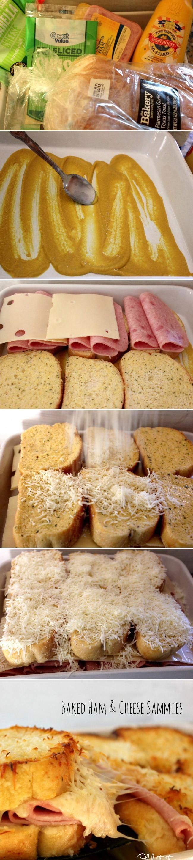 Turn your boring lunch into a gourmet creation with these baked ham and cheese sandwiches. Sliced ham, mozzarella, mustard, and swiss cheese all between two slices of buttered Texas toast. Ready for lunch?