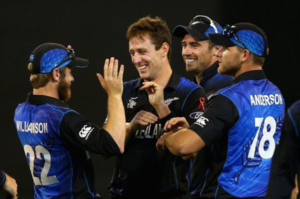 Black Caps bowler Matt Henry celebrates after taking the wicket of David Warner in the Cricket World Cup final at the MCG.