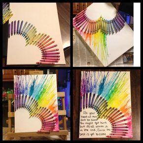 Heart melted crayon art