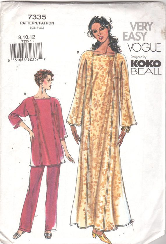 Vogue 7335 Misses Pullover Caftan Top Pull On Pants Pattern