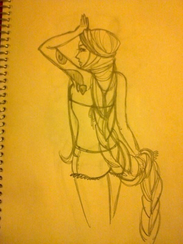 """Sketch from """"Rapunzel"""" for """"Urban princes"""" proyect by Moma"""