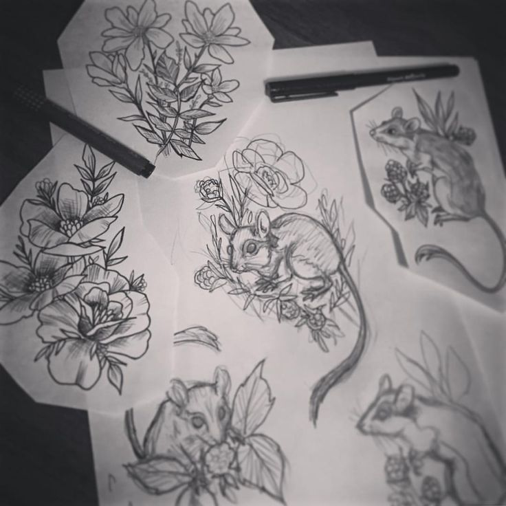 Tattoo design sketches  - essi tattoo #sketch #mouse #flower #drawing #art #instaart #instaartist #tattoodesign