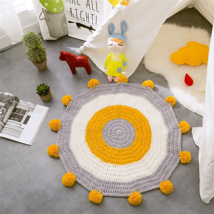 Nordic Round Carpet Mat Floor Mat High-grade Knitted Carpet Kids' Room Decorative Game Pad Blanket Carpets for Children Play Mat