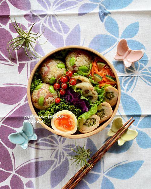 スッキリしないお天気が続いてるけど、今日から暖かくなる予報。今週もあと2日だし、頑張って行きましょうヽ(´▽`)/・オクラのささみロール・人参としらすのすだち風味・蓮根のアンチョビガーリック・紫キャベツのつぶぽん酢和え・ゆき菜の花のスイチリマリネ・ゆで卵のピクルス・茗荷と枝豆の玄米おにぎり今日のお弁当箱は、苦手な丸弁もう結構使ってるけど、中々慣れませんな~(笑)オクラをささみで巻いたささみロール。ささみ...