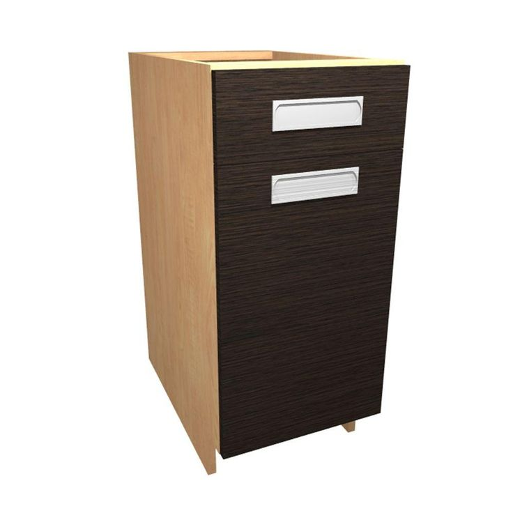 15x34.5x24 in. Genoa Base Cabinet with 2 Wire Pullout Trays 1 Soft Close Door and 1 Soft Close Drawer in Twilight, Twilight/Textured Thermo-Fused Melamine