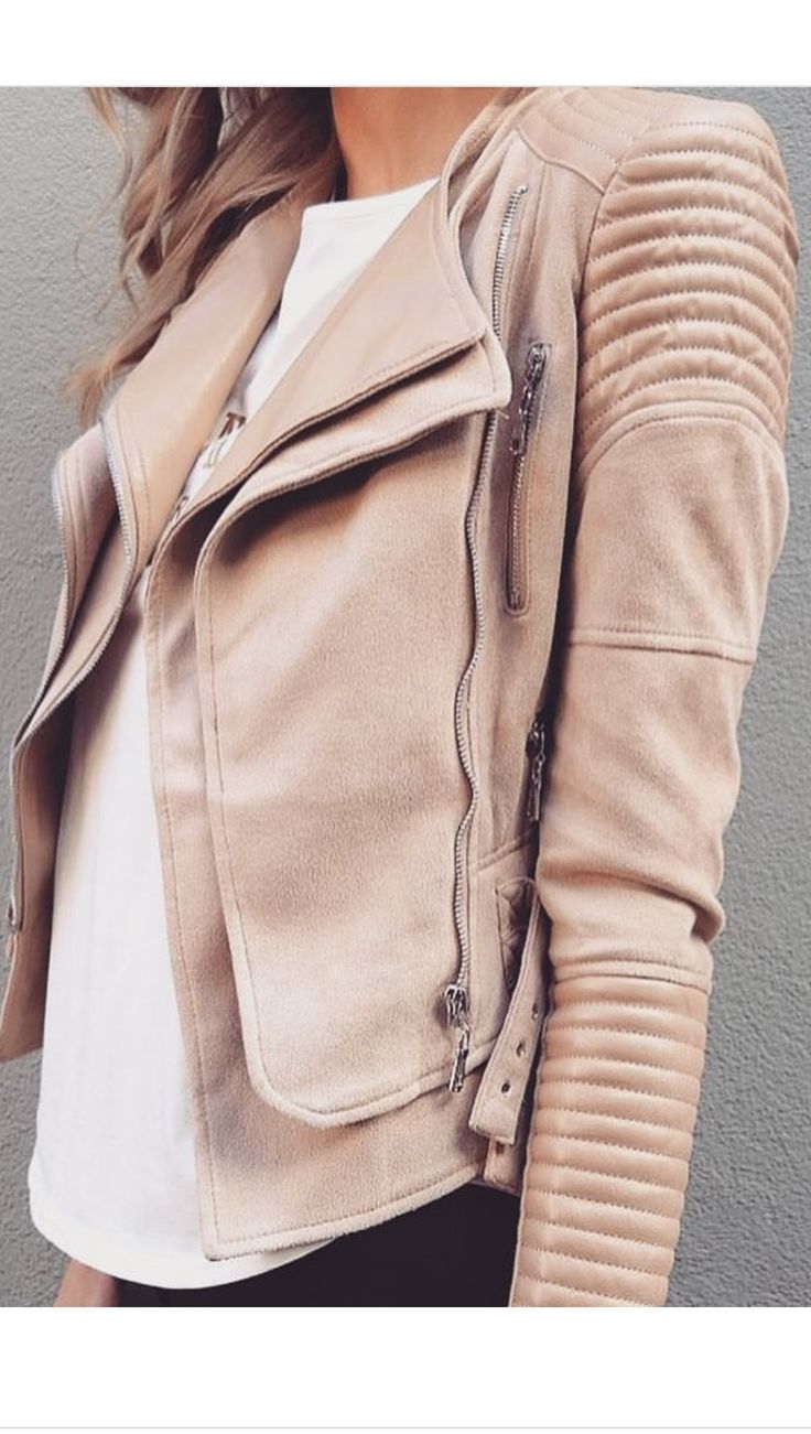 Biker Jacket Leather/Suede look Quilted detail Silver zip details Silver buckle details Fully lined