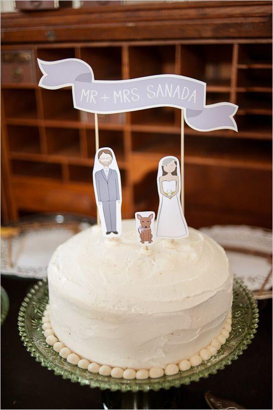 DIY Purple Wedding Inspiration Vintage Cake ToppersVintage
