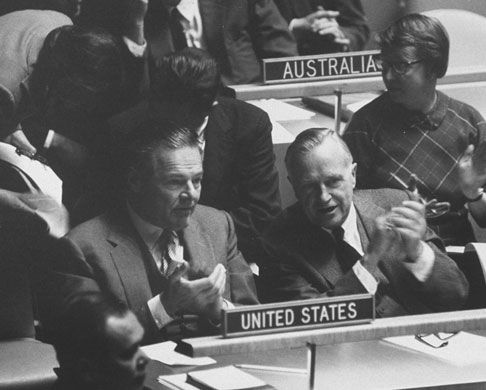 1 October 1959: The US ambassador to the UN, Henry Cabot Lodge Jr (l), and US assistant secretary of state, Walter S Robertson, during a debate in the UN general assembly on the resolution to deplore events in Tibet