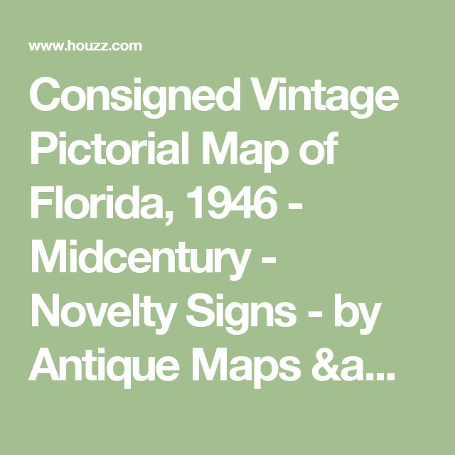 Consigned Vintage Pictorial Map of Florida, 1946 - Midcentury - Novelty Signs - by Antique Maps & Works on Paper Ltd