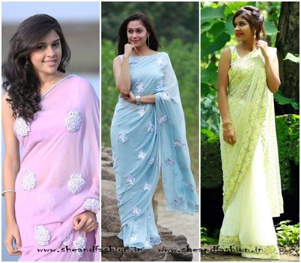 Pure silk chiffon sarees collection online