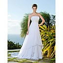 Sheath/ Column Side-Draped Fit and Flare Wedding Dresses with Beaded Applique - USD $ 229.99