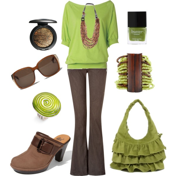 OutfitOutfit Difference Shoes, Fashion Clothing Accesories, Colors Combos, Green And Brown, Green Brown, Limes Green, Cute Outfit, Work Outfit, Clothing Fashion Stylish
