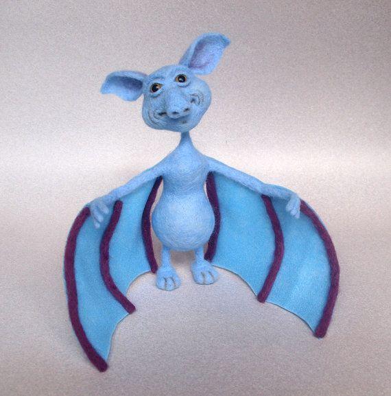 Steve The Bat. Needle Felted Bat Wool Soft by FluffyFuzzy on Etsy, $40.00