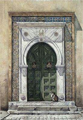 ابواب قديمة لوحة للفنانة عفاف الصومالي Art