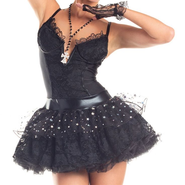 Madonna Costume Adult 80s Pop Star Material Girl Halloween Fancy Dress | eBay